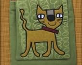 CAT handmade canvas designer applique PURSE