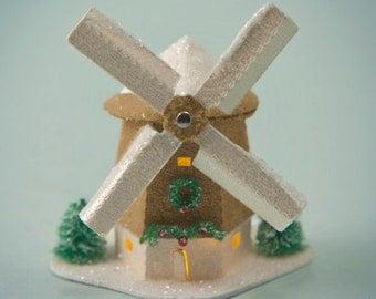 Miniature Glitter House Kit - Windmill with Light