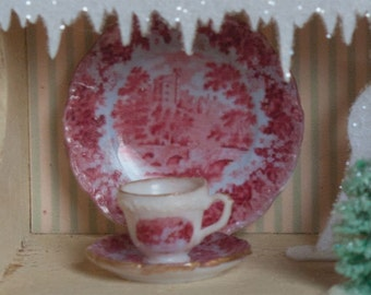Miniature Red Toile Dishes Kit