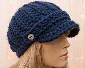Crochet Newsboy Hat - Navy Blue - For Women - Made to Order