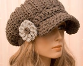 Slouchy Cotton Crochet Newsboy Hat with Flower - All season - Made to Order - Pick Your Color