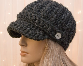 Crochet Newsboy Hat - Charcoal Gray - Made to Order