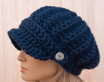 Slouchy Crochet Newsboy Hat - Navy - Pick Your Color - Made to Order