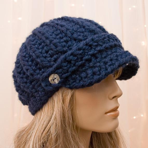Items similar to Crochet Newsboy Hat - Navy Blue - For ...