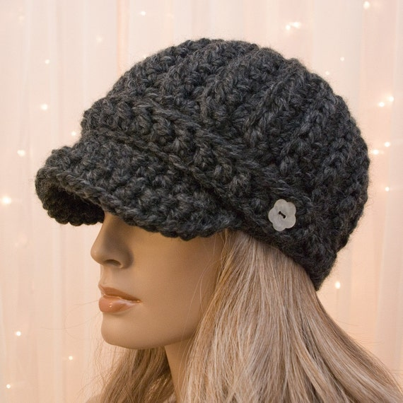 Crochet Newsboy Hat Charcoal Gray Made To Order