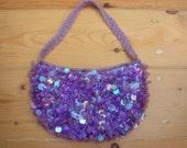 Vintage Sparkly Purple Lavender Iridescent Paillette Handbag Crescent Purse