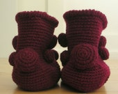 Handmade Crochet Knit Wine Red Elfin Pom Pom Ankle Boot Slippers Booties  - 7.5-8.5