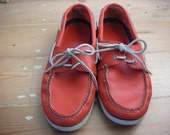 Mens Vintage Rare Tangerine Colored Leather Sperry Topsider Boat Deck shoes