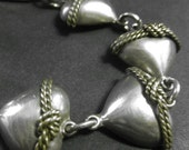 Vintage Sterling Silver Braided Heart Bracelet Mexican Silver And Brass