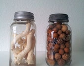 Vintage Mason Jars Zinc Tops With Found Woodsy Items Natural Home Decor Earth Colors
