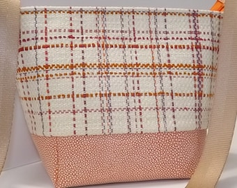 SALE-Small Zip Top Bucket Bag, Shoulder Strap, Orange, White, Plaid, Zip Top, Faux Leather