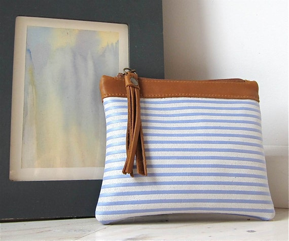 Leather  zipper pouch/ bag organizer / cosmetic bag  in lavender blue and white stripes with tan finishing