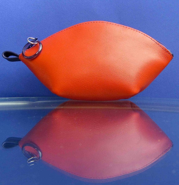 Leather  zipper pouch/ bag organizer / cosmetic bag in orange red cow leather and purple zipper