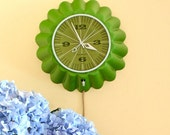 RESERVED for g deuxmarse - green scalloped General Electric wall clock