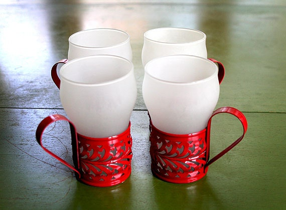 vintage set of four 1950s glass tumbler mugs with metal handles