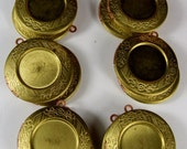 6 Large Brass Lockets For Cab or  Found Object Setting American Made Old stock