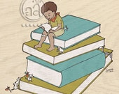 He Loves To Read - art print 8x10 - cute illustration of boy reading on stack of books