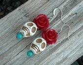 Day of the Dead Earrings, Day of the Dead Skull Earrings, White Skulls, Red Roses,
