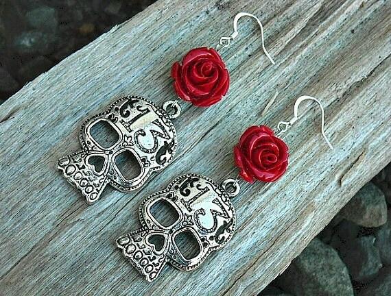 Day of the Dead Earrings, Day of the Dead Skull Earrings, Lucky 13, Red Roses, Charm Earrings,