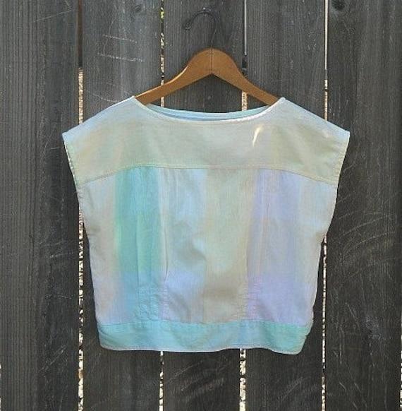 Vintage Crop Top, Pastel Shirt, 1970's, Vintage Shirt, Summer, Colorblock, Vintage Blouse, Size Small,