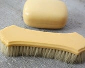 Antique French Ivory Celluloid Clothes Brush Covered Soap Holder circa 1920's