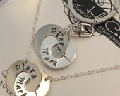 """Valentines Jewelry Handstamped Necklace.  Valentines Day Gift.  Handmade Personalized """"Always and Forever"""" Necklace with matching Keychain."""