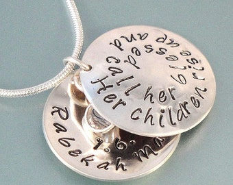 Mother's Day gift.  Personalized Hand Stamped Necklace -  Handmade Personalized Sterling Silver Jewelry Necklace
