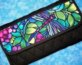 Women Wallet Clutch Wallet Vegan Wallet Fabric Wallet Dragonfly Organizer Wallet Long Wallet Quilted Ladies Wallet Checkbook Wallet Velcro