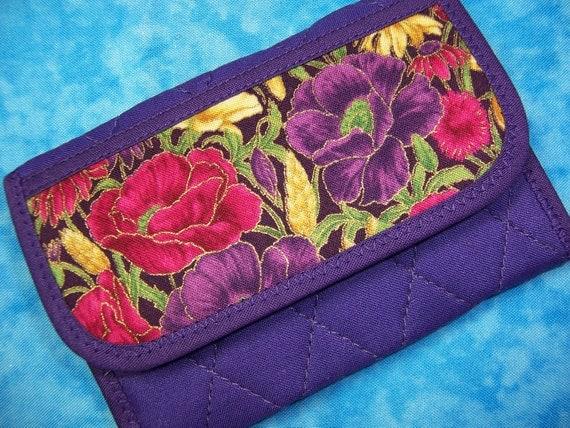 Women Wallet Card Wallet Small Wallet Fabric Purple Vegan Wallet - Ready to Ship