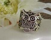 Owl Filigree Ring..Adjustable.... (packed in a sheer organza drawstring bag)...FREE SHIPPING