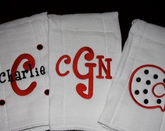 Monogrammed Burp Cloth Set of 3 for a boy