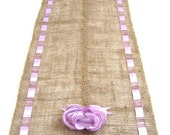 Burlap Table Runner With Lavender Ribbons - Spring Brunch Table Accessory