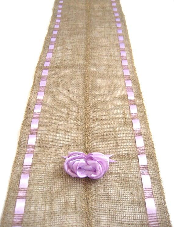 Burlap Table Runner With Lavender Ribbons Spring Brunch