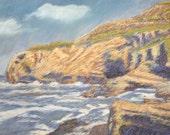 Ocean Painting, Original Pastel Drawing