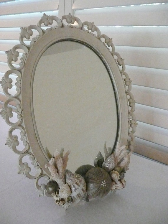 White Shabby Chic Sea Shell Vintage Mirror, Coral and Swarovski Crystals for Mother's Day, Wedding or Seaside Home
