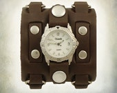 Ladies 3 Strap Leather Cuff Watch
