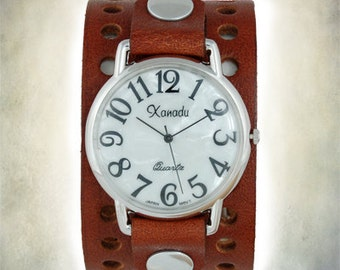 Handmade - Two Hole Leather Cuff Watch