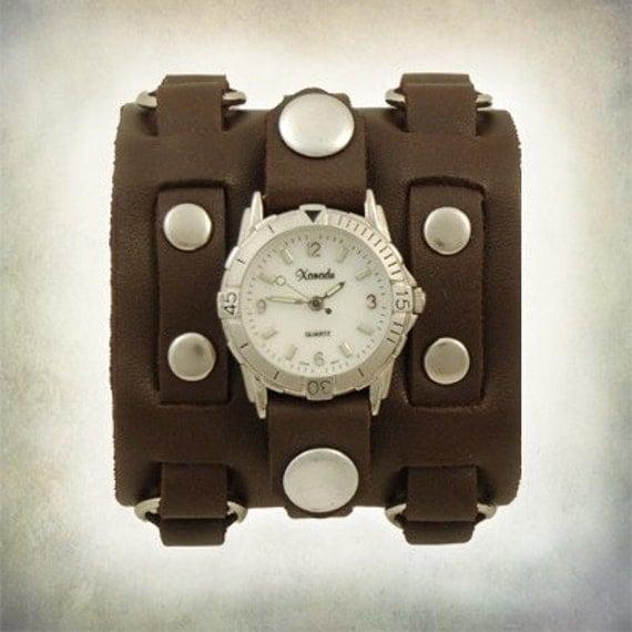 Ladies 3 Strap Leather Cuff Watch