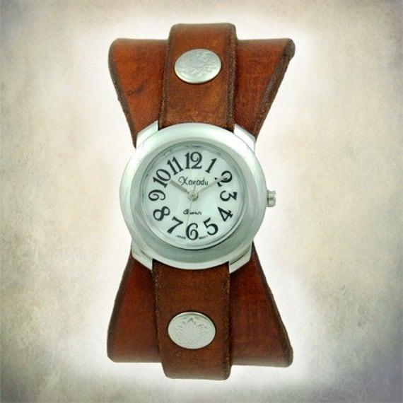 Women's Handmade Leather Watch - Hourglass Cuff