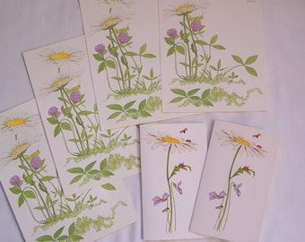 Wildflowers Grasshopper Ladybugs Vintage Current Stationery Seal n Sends and Notecards