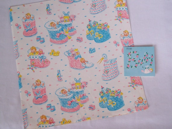 Vintage Baby Shower Gift Wrap Sheet and Card