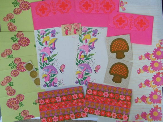 Vintage Stationery Collection -Oh So Groovy 70's  Day Glow Pink Mushrooms