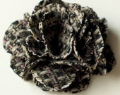 Black and White Tweed Flower with hair clip or pin back - You pick