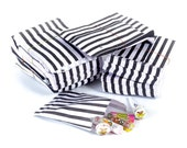 100 Pack - Candy Stripe Printed Paper Bags - Black - 5 x 7 Inches