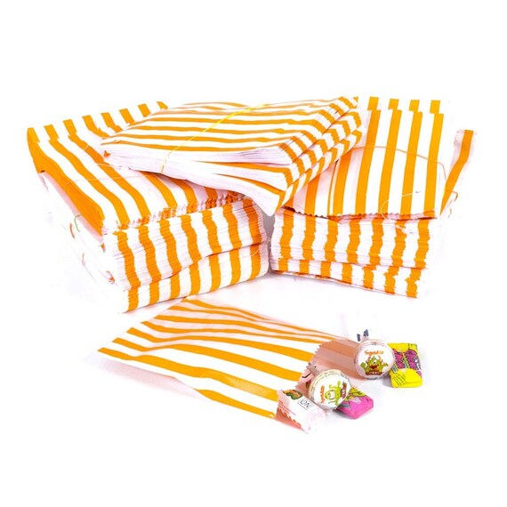 100 Pack - Candy Stripe Printed Paper Bags - Orange - 5 x 7 Inches