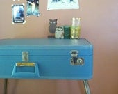 FREE SHIP /  Vintage Suitcase Table Robin Egg Blue Repurposed