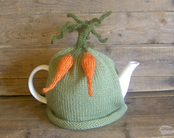 Carrot Tea Cosy, Knitted Carrot Teapot Cozy,  Green Tea Cosy with Dangling Carrots, Retro Tea Cosy for Kitchen, Kitchen Decor