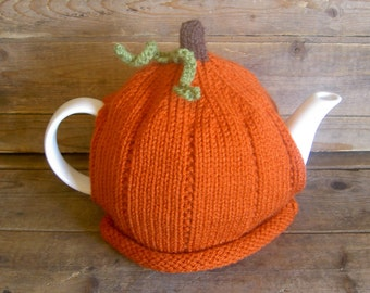 Pumpkin Tea Cozy, Handmade Knit Pumpkin Teapot Cosy, Knit Autumn Cosy, Kitchen Accessory, Retro Tea Cosy, Kitchen Decor,