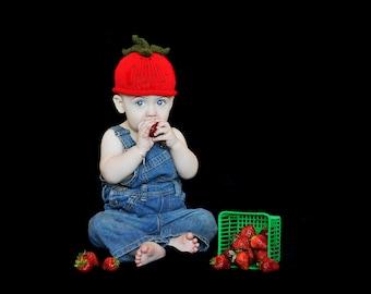 Strawberry Baby Hat, Newborn Strawberry Baby Bonnet, Handmade Knit Baby Beanie for Newborn or Infant