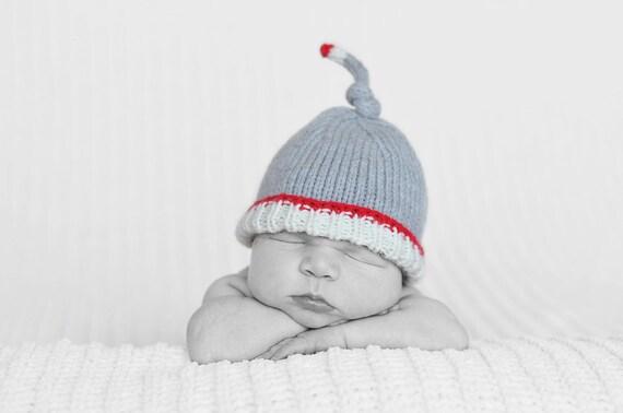 Baby Boy Hat, Newborn Sockmonkey Hat, Handmade Knit Worksock Newborn Hat